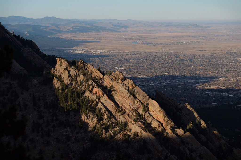 boulder colorado at sunset from bear peak